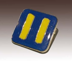 Die stamped soft enamel lapel pin with gold plating and epoxy coating