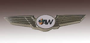 Die Cast Zinc 3D Nickel Plated Lapel Pin made for AW Aviation